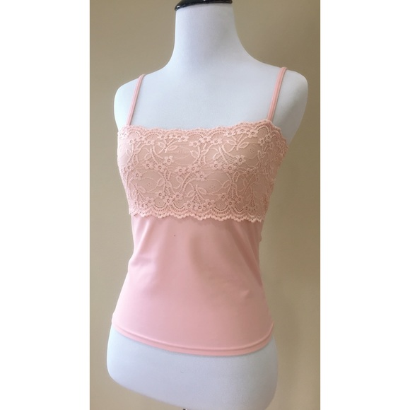 57f5a10cb4cbd New Pink Rose Blush Lace Stretch Camisole Tank Top.  M 5a7c0fc985e605ba41852b44